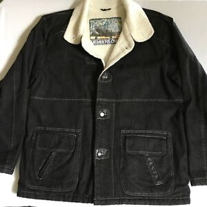 Members Only Mens Black Denim Sherpa Coat Jacket Horizon Express Collar Large L