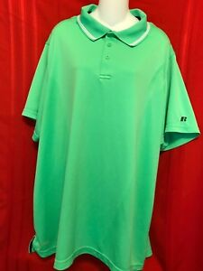 Russell Training Fit Size 3XL Green Dri power 360 Short Sleeves Collar 3 button $25.00