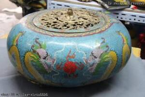 Chinese Royal Copper bronze Cloisonne Two Dragon Paly Bead Censer incense burner