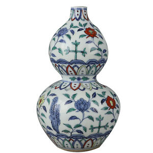 Nice Old Chinese Ming Dou Polychrome Porcelain Flowers Plant Calabash Vase