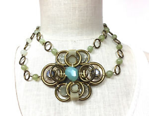 CHLOE Bronze Rings Aurora Crystals Jade-Green Beads Flower Fashion Necklace
