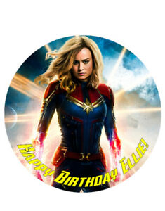 CAPTAIN MARVEL PERSONALISED EDIBLE BIRTHDAY CAKE TOPPER A4/CIRCLE