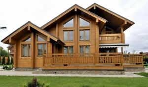 LAMINATED LOG ECO HOUSE KIT ENGINEERED WOOD PREFAB DIY BUILDING CABIN HOME