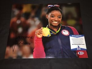 Simone Biles Signed 11x14 Photo Rio Olympics Gold Medals Final 5 Beckett
