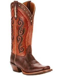 Ariat Women's Cowtown Cutter Scroll Inlay Performance Cowgirl Boot Square Toe