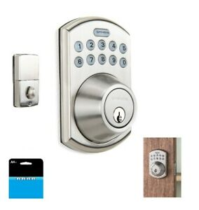 Satin Nickel Deadbolt Door Electronic Lock Keyless Exterior Security