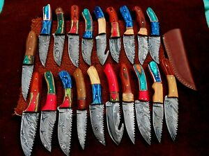 CUSTOM HAND MADE DAMASCUS STEEL FIX BLADE  HUNTING KNIVES.(LOT OF 20)HAPPY DEAL3