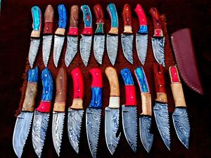 CUSTOM HAND MADE DAMASCUS STEEL FIX BLADE  HUNTING KNIVES.(LOT OF 20)HAPPY DEAL5
