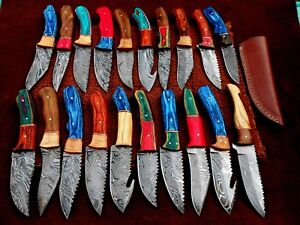 CUSTOM HAND MADE DAMASCUS STEEL FIX BLADE  HUNTING KNIVES.(LOT OF 20)HAPPY DEAL1