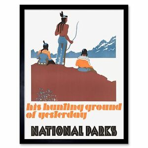 Advert American Native Grounds Hunting National Parks 12X16 Inch Framed Print