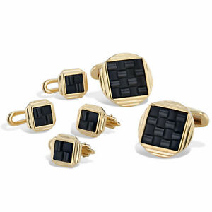 Onyx and Yellow Gold Cufflinks and Shirt Studs