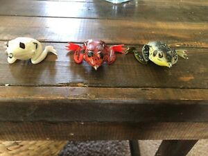 Lunkerhunt Lunker Frogs Lot Of 3 White Red Bull Top Water Hollow Bass Lure