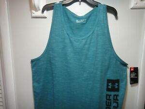 Under Armour Mens Heatgear Loose Fit Tank Top Shirt Color Green Size 3XL