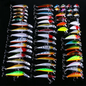 56pcs Mixed Fishing Lures Kit Bass Baits Crankbaits Minnow Fish Hooks Tackle