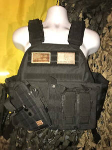 Rothco Black MOPC & Cross Draw Molle & (2) AR500 Plates & Patches XXL-XXXL