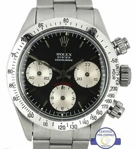 Vintage 1976 Rolex Daytona Cosmograph Small Red 6265 Black 37mm Stainless Watch
