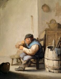 Oil painting ancient male portrait figures old man smoking Old farmer#x27;s life art $69.99