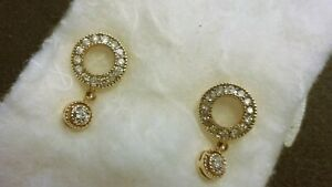 14K Yellow Gold 0.3ctw Pave Diamond Eternity LOVE Circle Drop Dangle Earrings