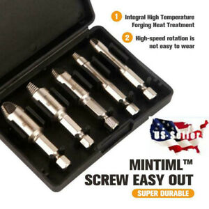 Mintiml Screw Easy Out - Premium Screw Extractor Set Bolt Drill Bits 5pcs/set