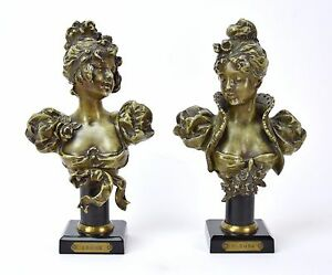 Pair of Antique of French Busts Young Women Blonde and Brune $245.00