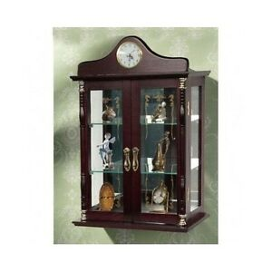 Wall Mounted Cabinet Hang Glass Display Case Wood Shelves Storage Analog Clock