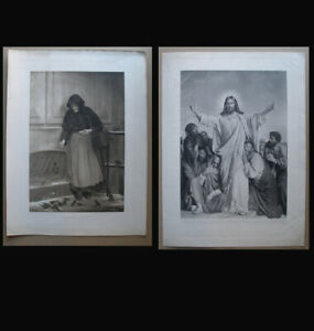 Carl Bloch. Two large and rare antique lithographs. 1886.