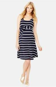 Rosie Pope #x27;Best#x27; Maternity Dress in NAVY WHITE STRIPE XS $128