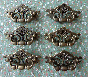 Set of 6 New Continental Brass Antique Brass Wheat Drawer Swing Pulls 3quot; Centers $24.00