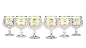 Bohemian Crystal Enameled Colored Cognac Snifters, Vintage White Glass Set of 6