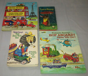 RICHARD SCARRY Book Lot 4 Vintage Hardcover Golden Book Best Story Book Ever