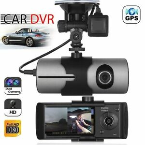 Car GPS Dual Lens DVR Camera HD Dash Cam Video Recorder G-Sensor w Night Vision