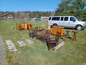OLD HICKORY CAMP Adirondack cabin rustic birch canoe bar stools harvest table