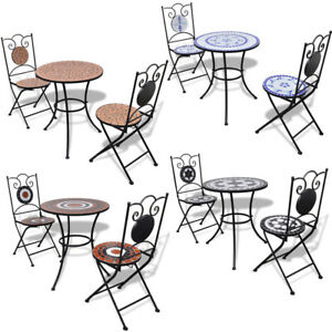 Iron Metal 3 Piece Bistro Outdoor Patio Set Table Chair Kit Weather Resistant US