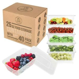 25 oz Food Storage Containers with Lids - Disposable Meal Prep Plastic (40 Pack)