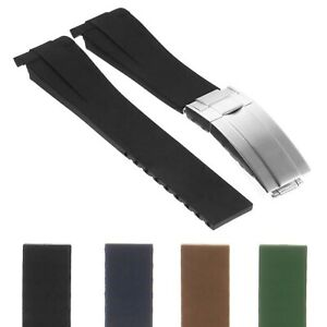 StrapsCo 20mm Silicone Rubber Replacement Watch Band Strap for Oysterflex