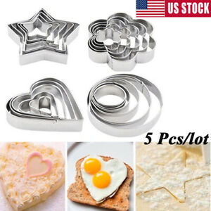 5 Pcs/set Stainless Steel Fondant Cake Baking Mold Cookie Biscuit Cutter Moulds