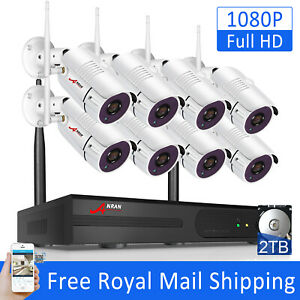 ANRAN 8CH 1080P House Camera Security System Wireless CCTV Waterproof NVR 2TB HD