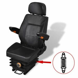 vidaXL Tractor Seat with Suspension Black Forklift Replacement Relaxer Chair✓