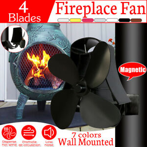 4 Blades Silent Wall Mounted Heat Powered Stove Fan Wood Burner Fireplace Fans
