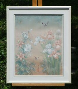 J. Cheng Signed Gouache Painting on Silk $150.00