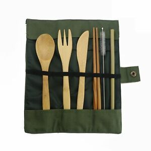 7pcsset Bamboo With Straw Dinnerware Set With Cloth Bag Utensil Travel Flatware