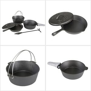 Cast Iron Cook Set Outdoor Camping Hiking Pot Fry Pan Pre Seasoned Cookware