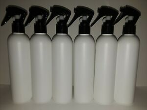 6/8oz  Empty Bullet Round White Bottles 24-410 With Spray Heads NEW NEVER USED