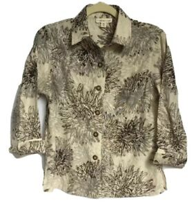 Coldwater Creek Womens Beige & Brown Burnout Embroidered Floral Blouse PM 10-12