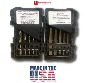 Norseman 10pc Screw & Bolt Extractor EZ Out Set Left Drill Bits #1-5 USA #35484