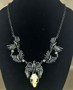 G57 Taxidermy Real Bat Skull Necklace Antiqued Silver Jewelry crow raven design