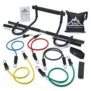 Heavy Duty Chin Up Bar & Resistance Bands Exercising Gear Muscle Toning Shaping