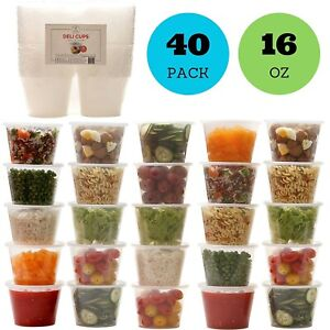 16oz Plastic Food Storage Containers with Lids Restaurant Deli Cups Set of 40