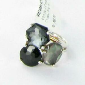 Ippolita Rock Candy Three Stone Cluster Ring Black Tie Sterling 925 NWT $795