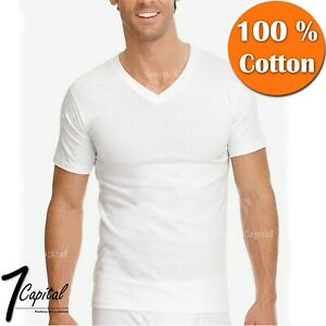 3 12 PC Mens 100% Cotton Tagless Crew V Neck Undershirt White T Shirt Tee S XL $18.99